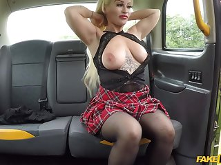 Cougar Princess Eve lifts her miniskirt close to be fucked by the boots
