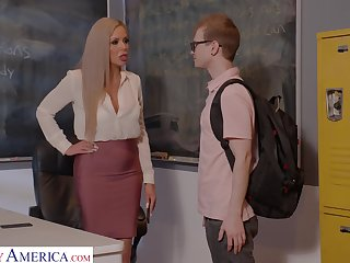 Horny nerdy MILFie tutor Nina Elle fucks well with her student in excess of the desk