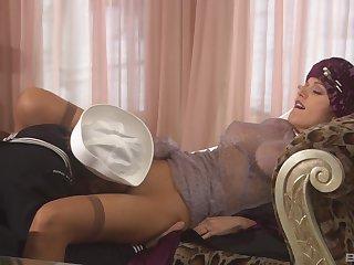 MILF Monica Mayhem in nylon stockings having nice carnal knowledge nearby her man