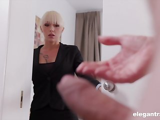 Christina catches her business partner jerking off coupled with decides to help him
