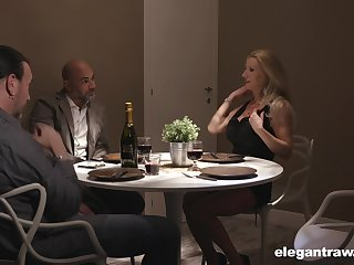 Two married couples are having imbecile sex fun after dinner