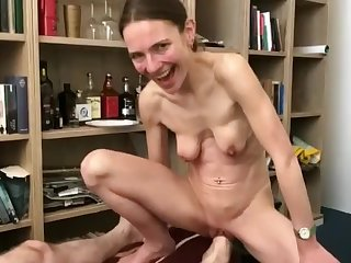 Skinny German woman all round saggy tits gets basis fisted
