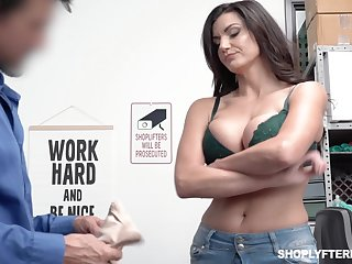 Bosomy shoplifting milf Becky Bandini gets punished just right slay rub elbows with table