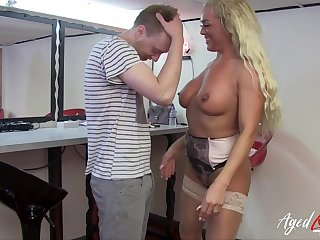 Hard rough sex of hot cougar lady with naturel tits and within reach youngster stud