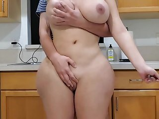 Scorching mother and sonny in scullery