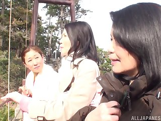 Lesbo amateurs from Japan enjoy having sex in the go to the toilet