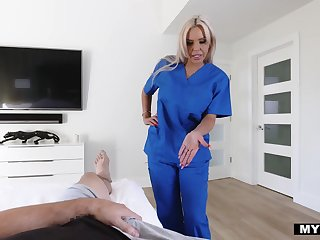 Be fond of stepmom Nina Elle gives her horny stepson some sexual treatment