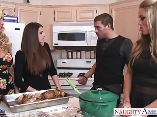 Sexy Nicole Aniston and her busty friends work on strong cock on Xmas