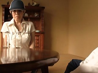 Japanese mature drops on her knees to sucks a dick of a younger man