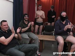 Hardcore gangbang crumbs on every side lots of cum for a blonde slut. HD