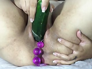 Effectuation to make the beast about two backs cervix about big balls, carrot and dildo