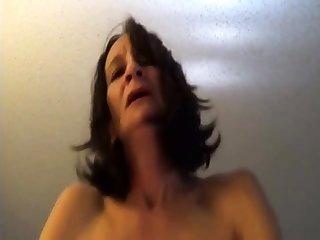 Skinny old woman riding back orgasms POV