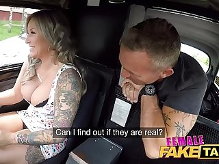 Female Pretence Taxi Passenger is fascinated by her big boobs