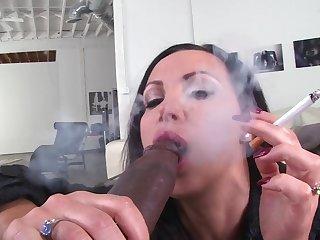 Interracial sex between a Stygian stud plus pornstar Nikki Benz