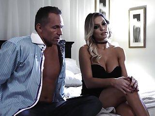 Hungry blonde cougar fucks 'til rub-down the last drops of jizz