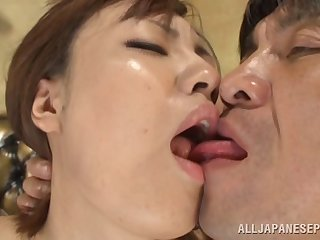 Kinky Asian mollycoddle drops atop her knees to close by a sloppy blowjob