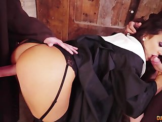 Wild big bottomed nun gives nice follower plus gets brutally mouthfucked