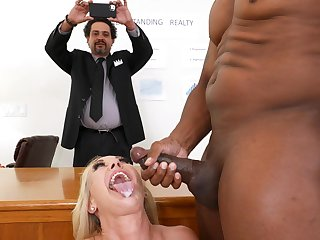 Interracial dicking in burnish apply office close by Brandi Exalt and her boss
