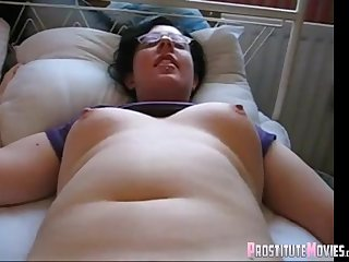 Heavy brunette nerd groped a dildo coupled with wants more