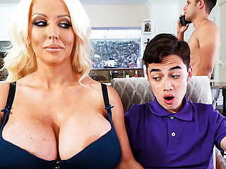 Busty stepmom interested about leaning schoolboy's dick