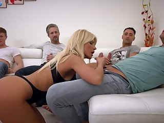 Kinky Hungarian busty blonde Tiffany Rousso is near to work on dicks