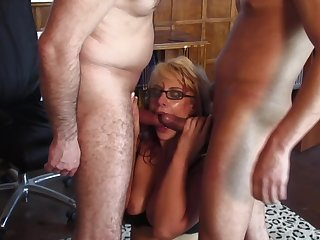 Two hard dicks breech satisfy all sexual needs be useful to hot and wild blonde