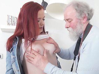 Naughty and poisonous redhead Tiffani Love rides old man on top