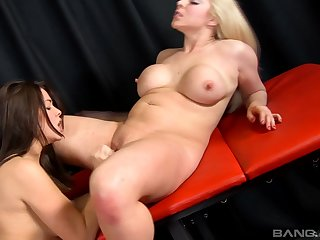 MILF pornstars Ava Dalush added to Victoria Summers carrying-on with a dildo