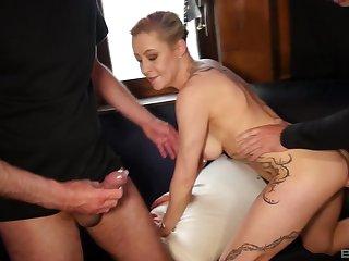 Cheating festival wife Klara gets fucked close to amazing threesome