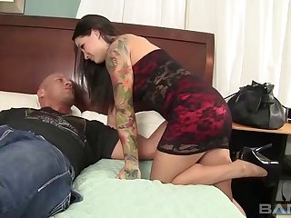 Salacious brunette with fat melons coping with a hard prick hardcore