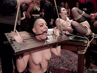 Doms subject Rachael Madori and Aria Alexander to imposing BDSM tactics